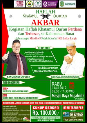 AYo Ikuti Haflah Akbar 1 Mei 2019 di Masjid Raya Mujahidin Pontianak