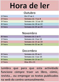 CALENDARIO DA HORA DE LER /1º TRIMESTRE