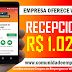 RECEPCIONISTA FERISTA COM REMUNERAÇÃO R$ 1.027,00 PARA ATUAR NA ILHA DO LEITE