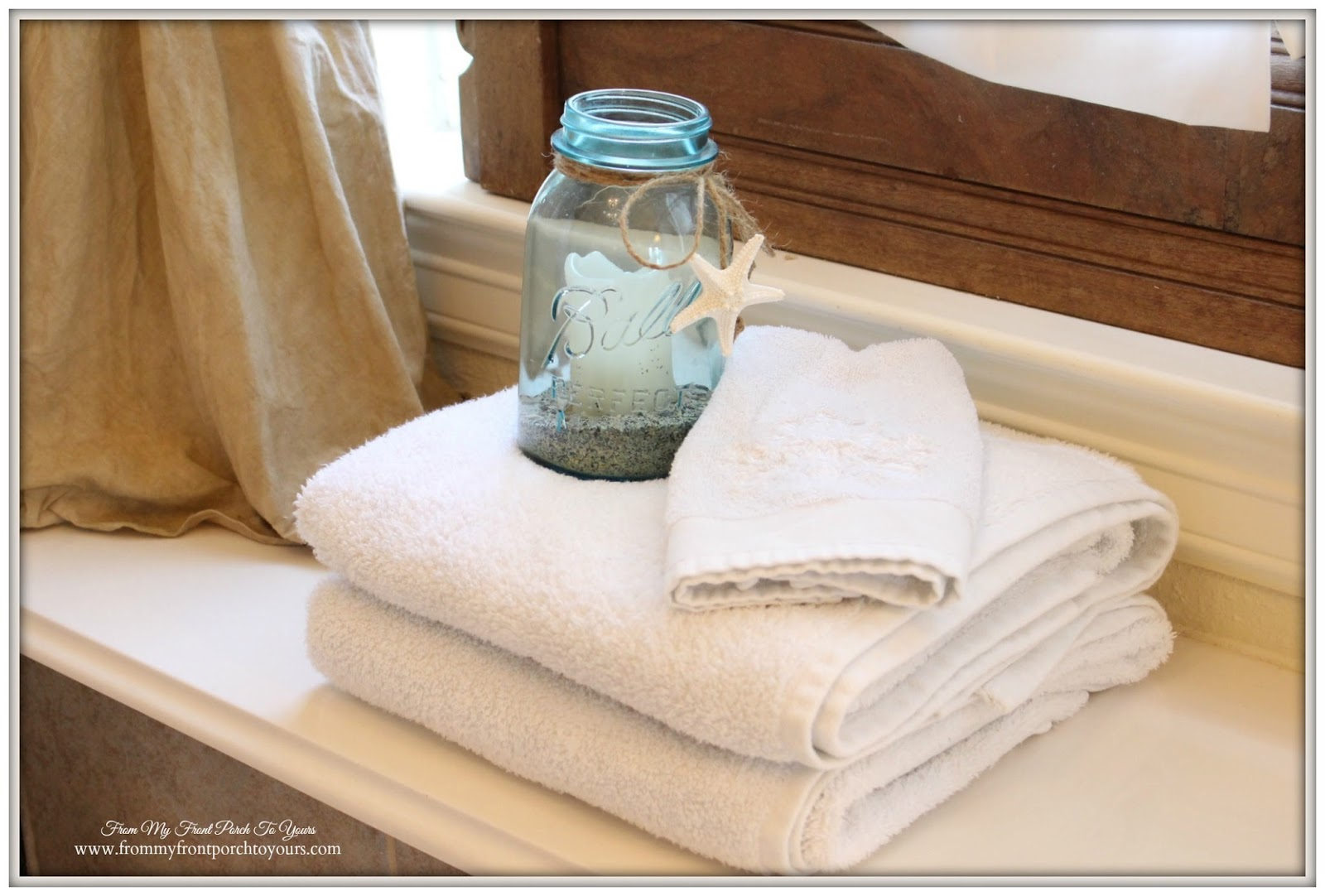 French country bathroom accessories - Vintage Blue Ball Canning Jar Home Decor French Country Farmhouse Master Bathroom