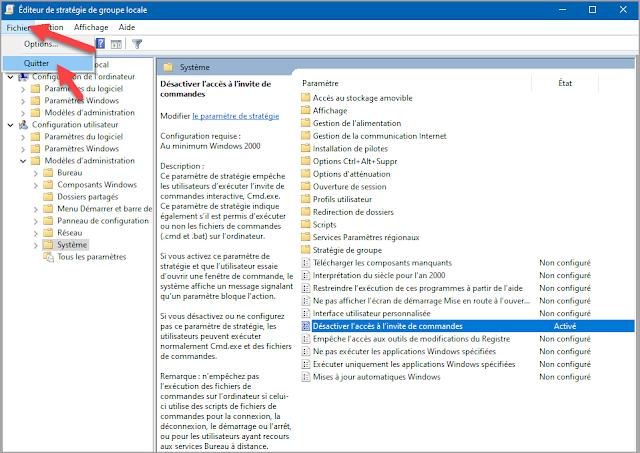 Mots-clés : Windows 10, sécurité, trucs, astuces, stratégie groupe locale, système, options de sécurité, désactiver l'accès à l'invité de commandes, cmd, administration, cmd.exe