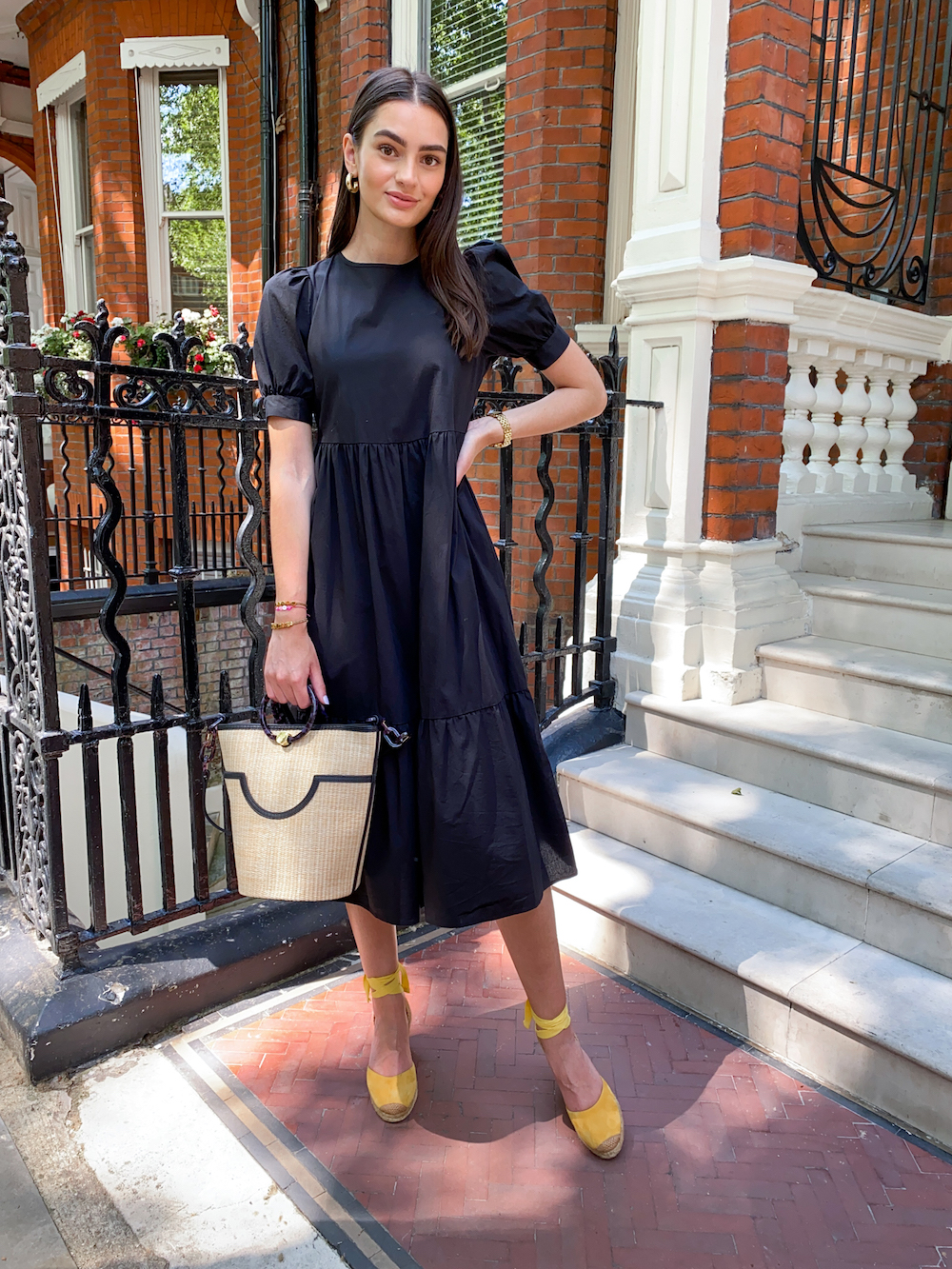 black midi dress new look yellow espadrille wedges straw bucket bag