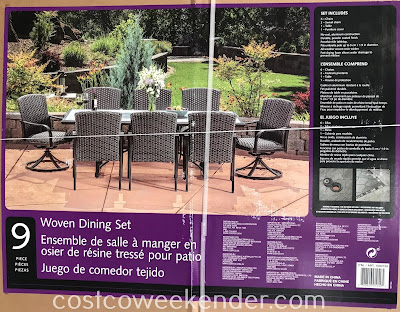 Costco 1500154 - Sunvilla 9-piece Woven Dining Set: outdoor entertainment at its best