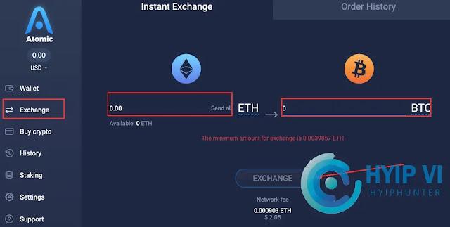 Exchange  Atomic Wallet
