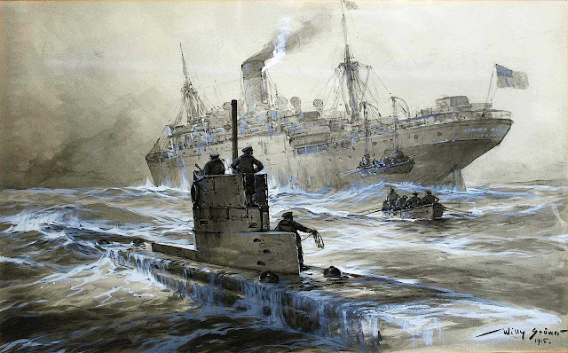 Willy Stower 1915, war painting at sea