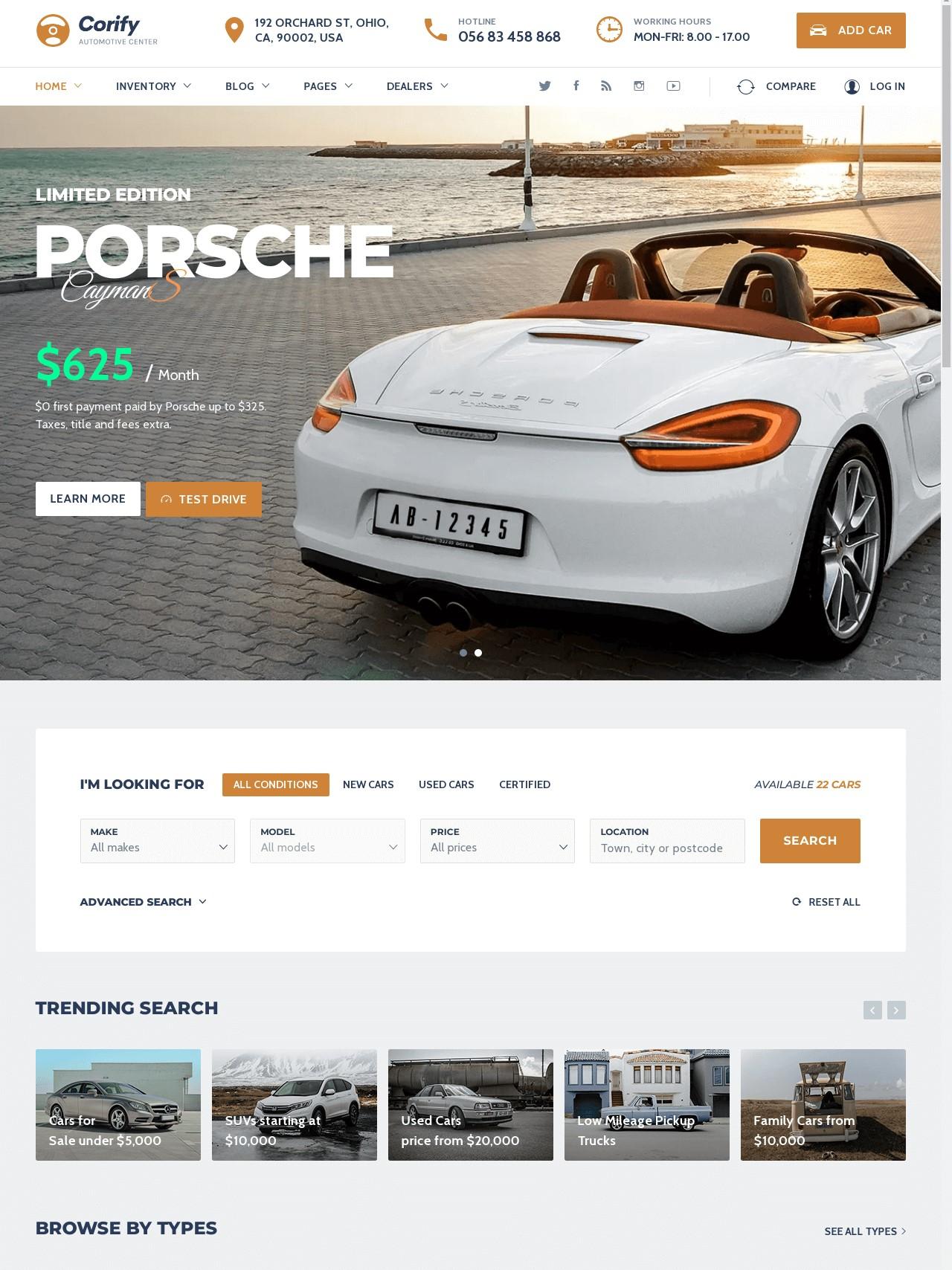 Corify  WordPress Car Listings And Dealership WordPress  Theme