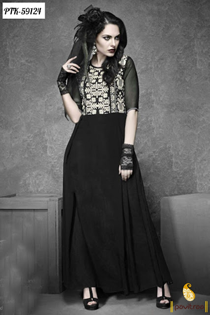 Trendy latest new party wear designer black color georgette anarkali kurti online shopping with discount sale in lowest price