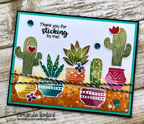 Cactus card by Amanda Bodine | Cultivated Cacti stamp sets and die set by Newton's Nook Designs #newotnsnook