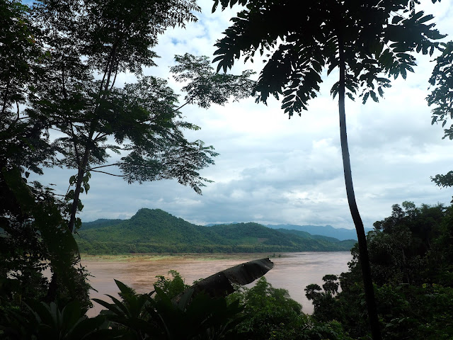 View of the Mekong river from the upper Pak Ou cave, Tham Theung, in Laos