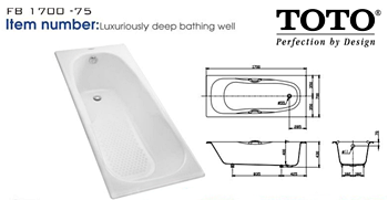 Harga Bathtub Berbagai Merek dan Model Terbaru 2017  - TOTO FB 1700-75