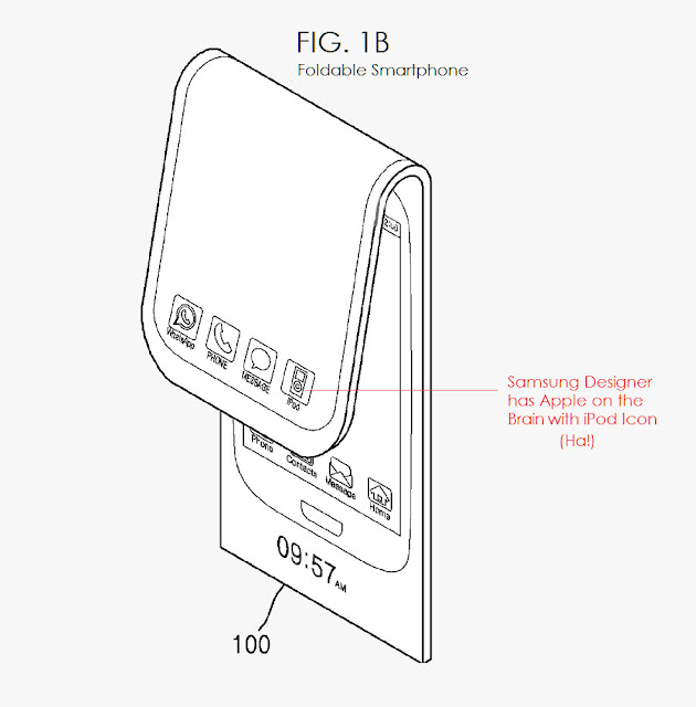 Samsung patented a flexible smartphone with the iPod app on the home screen