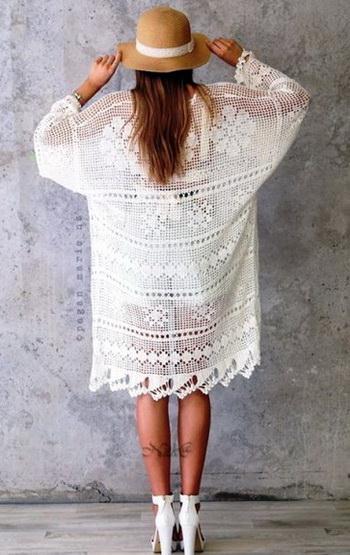 crochet kimono, crochet oversize cardigan pattern