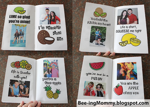 fruit saying anniversary book, fruit book, fruit sayings, free printable, printable book, printable gift, 4 year wedding anniversary gift, fruit anniversary, fruit gift, fruit gift ideas, unique fruit gift, food sayings, four year anniversary, four year anniversary gift, 4 year gift, unique 4 year gift, lime so glad your mine, coconuts about you, one in a melon, lime so glad you're mine, sweeter with you, mango can't live without you, you're a fine-apple, apple of my eye, bananas about you, love you berry much, couldn't of picked a better guy, fruit, anniversary book, DIY, scrapbook, anniversary scrapbook, wedding scrapbook, keepsake, meaningful gift, meaningful anniversary gift, Valentine's day gift, anniversary gift, date gift, gift for her, gift for him, romantic gift, summer gift,