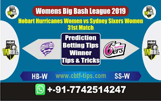 Who will win Today WBBL 2019, 31st Match Sixers vs Hobart 31st, WBBL T20 2019