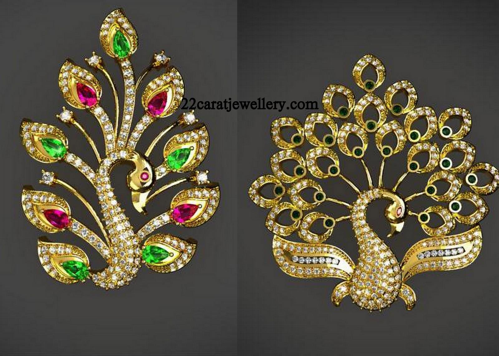 Diamond Peacock Beautiful Pendant Sets Jewellery Designs