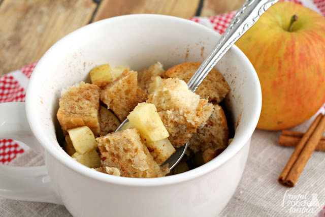 This perfectly portioned for one Apple Pie French Toast takes just a handful ingredients and a few minutes to make in your microwave.