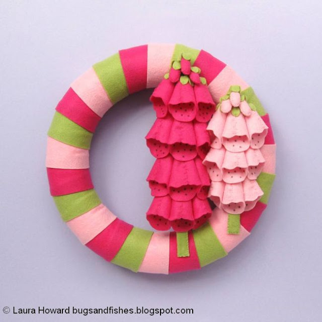 felt foxgloves wreath