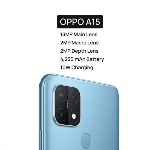 Oppo A15 Camera: Triple Rear (13MP, 2MP, 2MP), Selfie (5MP)