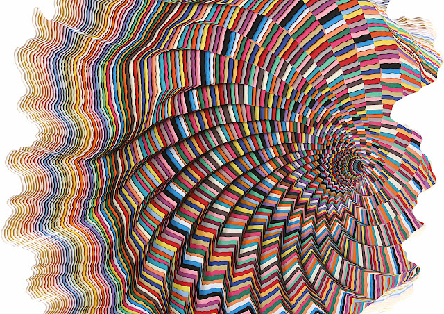 Jen Stark paper art, a color photograph