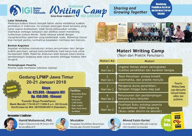 Pendaftaran Writing Camp 2 Kelas  Dasar IGI Gresik