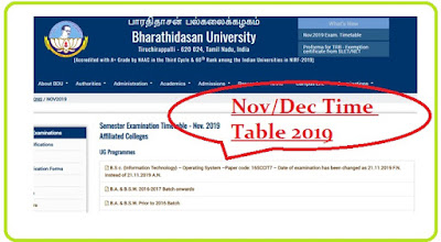 BDU Time Table Nov Dec 2019