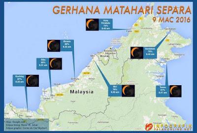 Gerhana Matahari Separa Boleh Dilihat Di Malaysia Pada Hari Rabu Ini, 9 Mac
