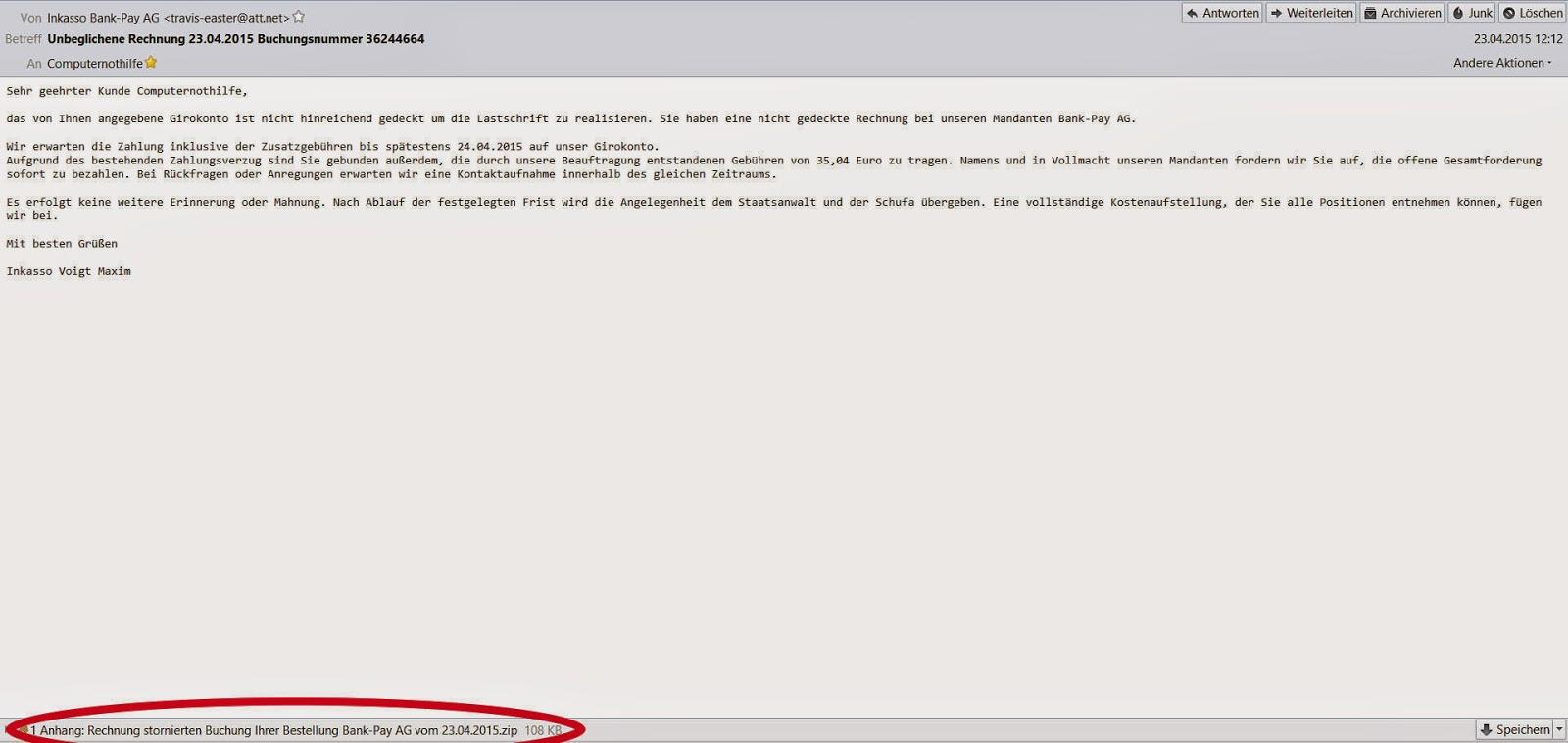 Malware Und Ich Mahnungen Im Doppelpack Online24 Pay Ag Und Bank
