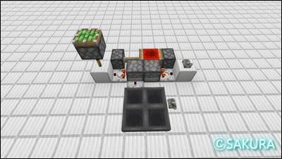 マインクラフトのクロック回路、ラブドロッパーとホッパー4つを使った約30分間隔のクロック回路