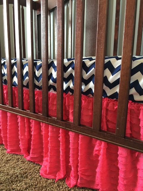 Hot Pink Ruffle Crib Skirt