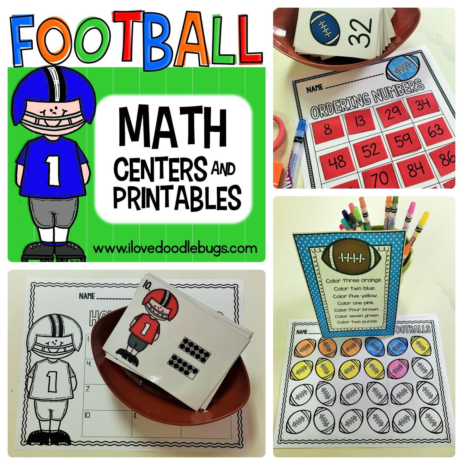 Doodle Bugs Teaching First Grade Rocks Football Math Centers Printables