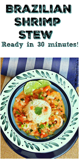 A delicious shrimp stew made with tomatoes and coconut and served over coconut rice. Have dinner on the table in 30 minutes! www.thisishowicook.com #Shrimp #Brazilianrecipes #dinnerinunder30