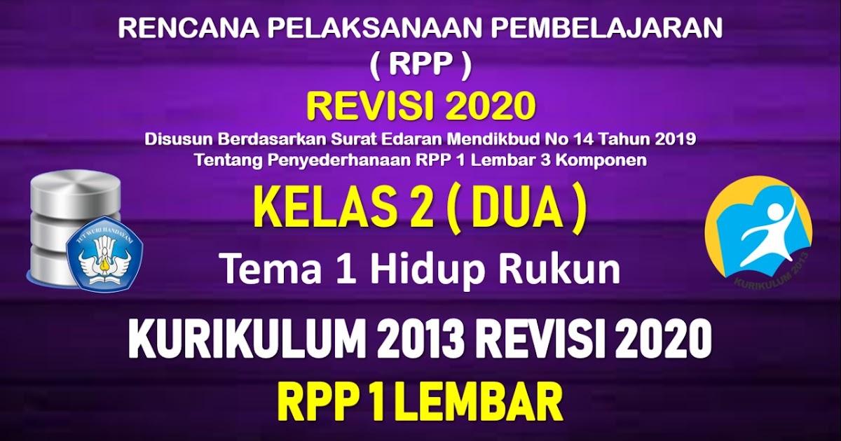 Rpp 1 Lembar Kelas 2 Tema 1 Sd Mi Kurikulum 2013 Revisi 2020 Tahun Pelajaran 2020 2021 Datadikdasmen