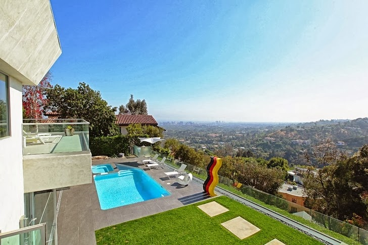 View from the balcony on Modern Beverly Hills House with open interiors