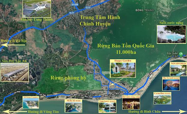 bản đồ phân vùng vị trí dự án Happy Garden Hồ Tràm. chụp trên google map