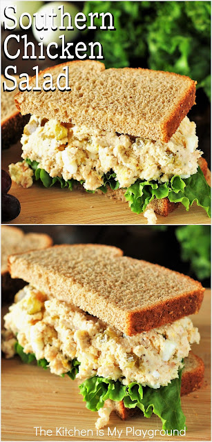 """Traditional Southern Chicken Salad ~ Creamy & comforting! This traditional Southern Chicken Salad is made with 2 """"secret"""" ingredients for extra fabulous flavor. www.thekitchenismyplayground.com"""