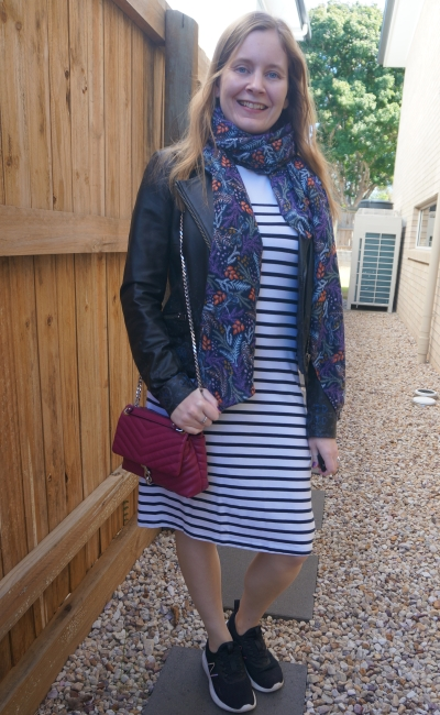 leather jacket, white striped midi tee dress with purple scarf and magenta edie crossbody bag   awayfromblue