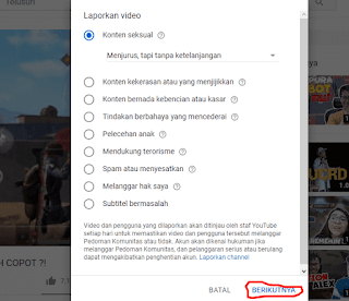 Cara Report Video Youtube di Hp dan Komputer