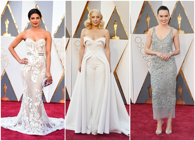 Priyanka Chopra, Lady Gaga, Daisey Ridley, 2016 oscars, academy awards, red carpet, white trend