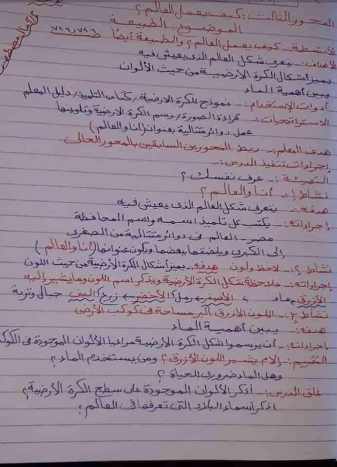 تحضير موضوع الطبيعة لغة عربية أولى ابتدائي المنهج الجديد ترم ثاني2019