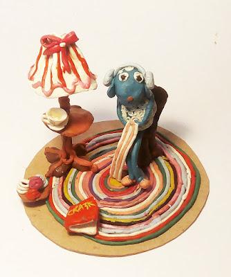 овечка и бабушкин коврик из пластилина