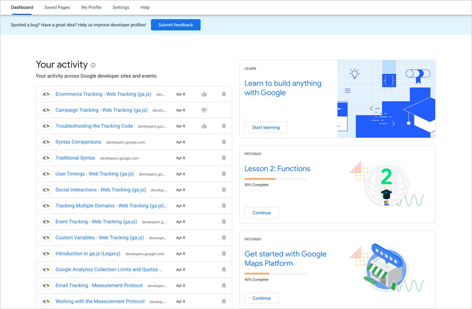 Google Geliştirici Profili kontrol paneli