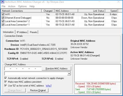 TMAC Wifi Adress Changer