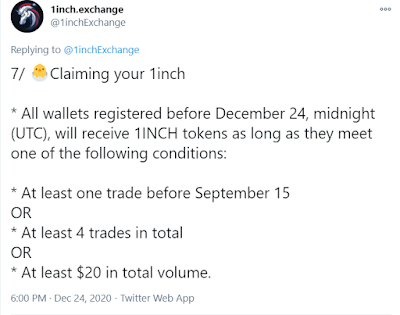 1inch official twitter message