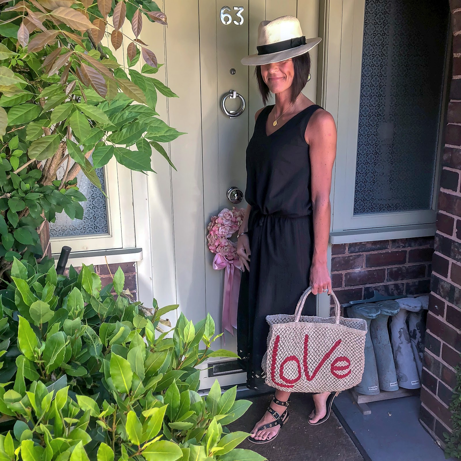 my midlife fashion, marks and spencer handwoven panama hat, hush ariel cut out dress, iro embellished leather cut out sandals, cabochon & co diana ring, the jacksons love jute shopper bag