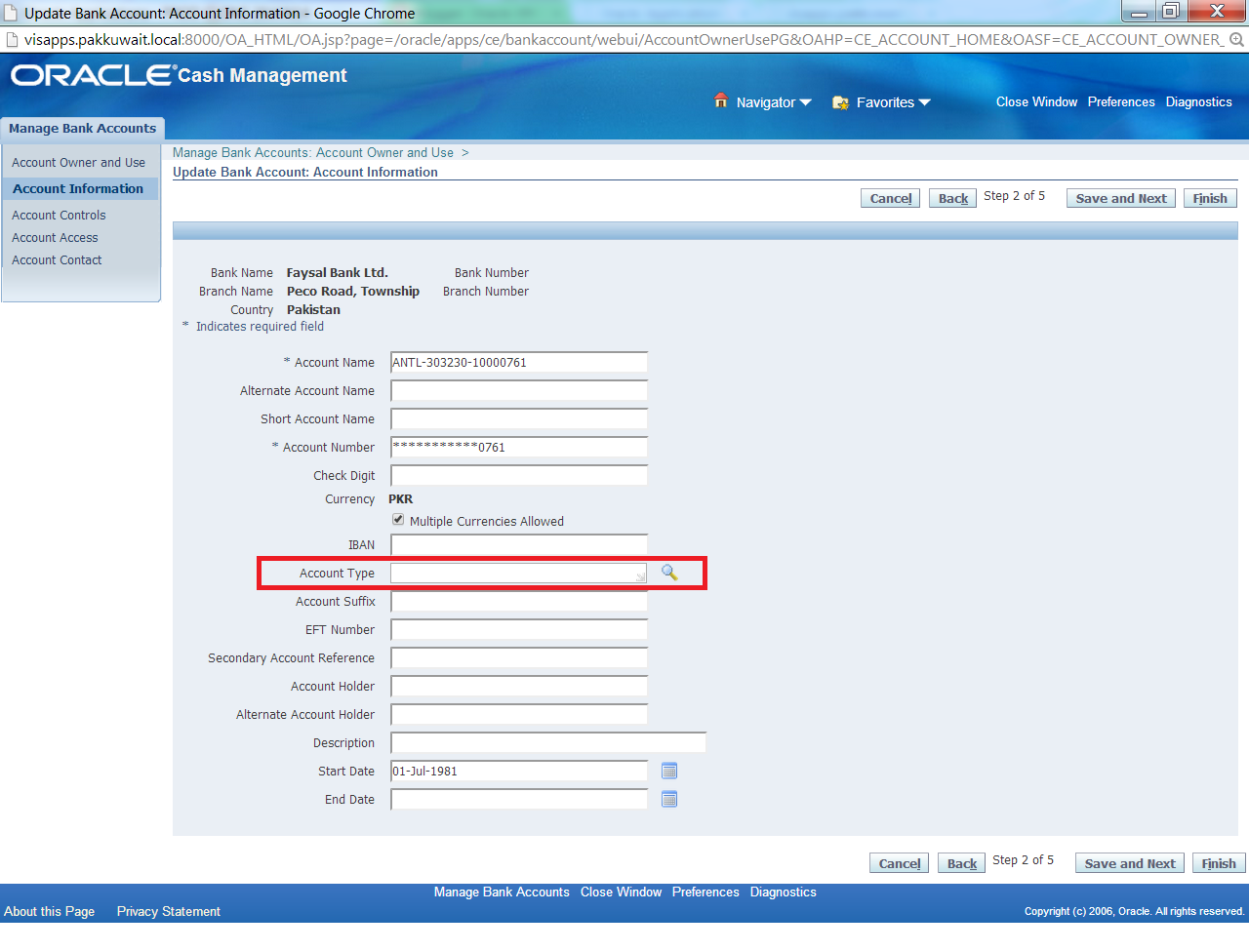 How to define Bank Account type in Oracle Cash Management r