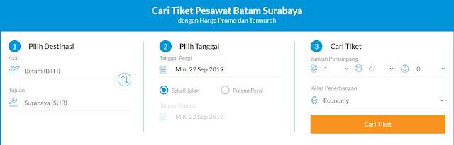 Tiket Pesawat Batam-Surabaya