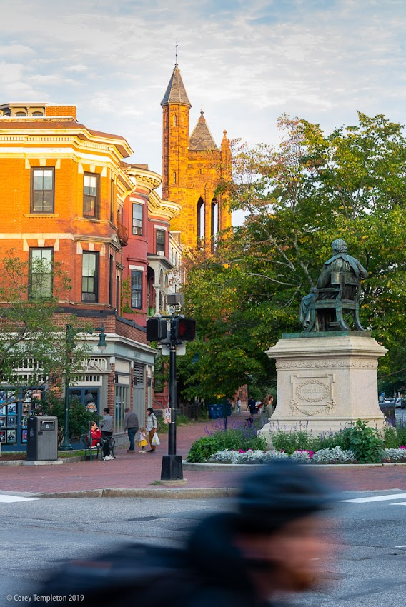 Portland, Maine USA September 2019 photo by Corey Templeton. Zooming past State Street and Longfellow Square on a summer evening.