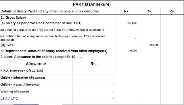 Income Tax Form 16 Part B in Excel
