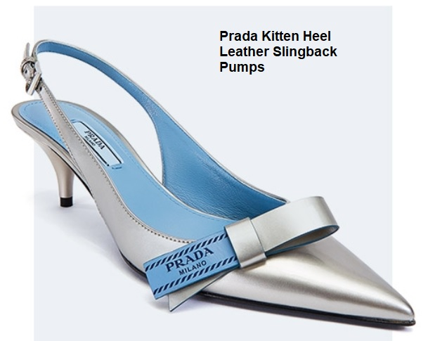 Prada Kitten Heel Leather Slingback
