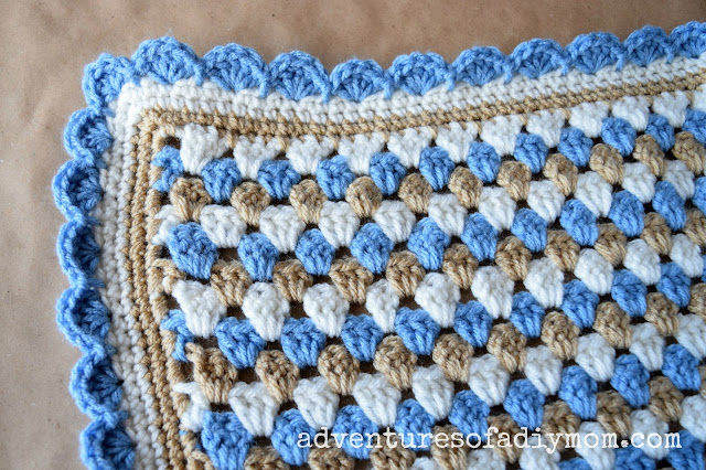 Granny Stripe Crocheted Blanket - Adventures of a DIY Mom